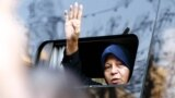 Faezeh Hashemi greets supporters and people attending the funeral of her father, Akbar Hashemi Rafsanjani, in Tehran on January 10, 2017. She has faced pressure for criticizing the system that her father helped establish.