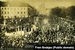 Objava da je donesena odluka o formiranju Kraljevine Srba, Hrvata i Slovenaca, 29. oktobar, Ljubljana