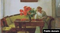 Анна Анкер, «Інтэр'ер з макамі і жанчынай, якая чытае» (1905)