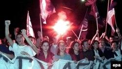На маршы ў Бялградзе 4 кастрычніка 2000
