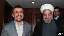دیدار حسن روحانی و محمود احمدی نژاد پس از انتخابات ریاست جمهوری امسال.