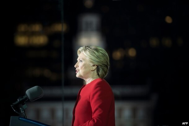 Hillary Clinton, the 2016 Democratic presidential nominee, speaks at a rally in Philadelphia on November 7.