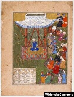 Эмирзаада Улукбек Тарагайдын бул сүрөтү анын замандашы болгон мусулман сүрөткери тарабынан тартылган.