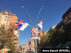 Serbian flags fly in North Mitrovica as local elections are held on October 22.
