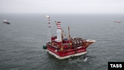 Russia's Prirazlomnoye oil platform in the Pechora Sea