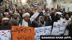 Pakistani demonstrators shout anti-U .S. slogans at a protest in Quetta on January 4.