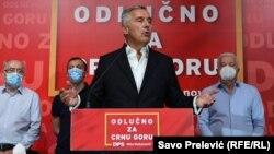 Президент Чорногорії і лідер Демократичної партії Міло Джуканович після оголошення попередніх результатів виборів, 30 серпня 2020 року