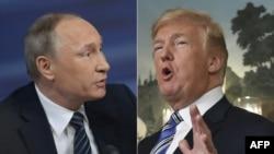 Президент США Дональд Трамп (справа) и президент России Владимир Путин на этом составном изображении.