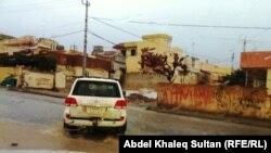 مياه الامطار تغمر شارعا في دهوك