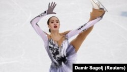 Alina Zagitova, an Olympic Athlete from Russia, performs her short program in Pyeongchang.