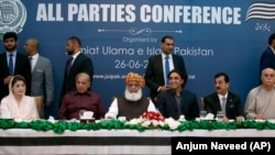 FILE: Pakistan's opposition parties leaders, from left, Maryam Nawaz, Shahbaz Sharif, Maulana Fazalur Rehman, Bilawal Bhutto Zardari, Yousuf Raza Gillani, and Mahmood Khan Achakzai during the all parties conference in Islamabad on June 26.