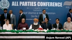 Pakistan's opposition parties leaders, from left, Maryam Nawaz, Shahbaz Sharif, Maulana Fazalur Rehman, Bilawal Bhutto Zardari, Yousuf Raza Gillani, and Mahmood Khan Achakzai during the all parties conference in Islamabad on June 26.