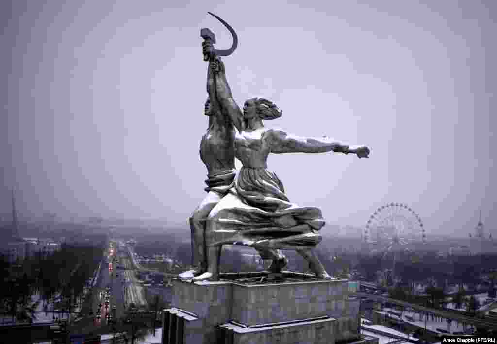 Moscow, Russia. The stainless-steel statue of Worker and Kolkhoz Woman striding into the future that was.