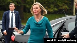 EU foreign policy chief Federica Mogherini arrives for the meeting in Helsinki on August 30.