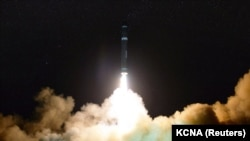NORTH KOREA -- A view of the newly developed intercontinental ballistic rocket Hwasong-15's test that was successfully launched is seen in this undated photo released by North Korea's Korean Central News Agency (KCNA) in Pyongyang November 30, 2017