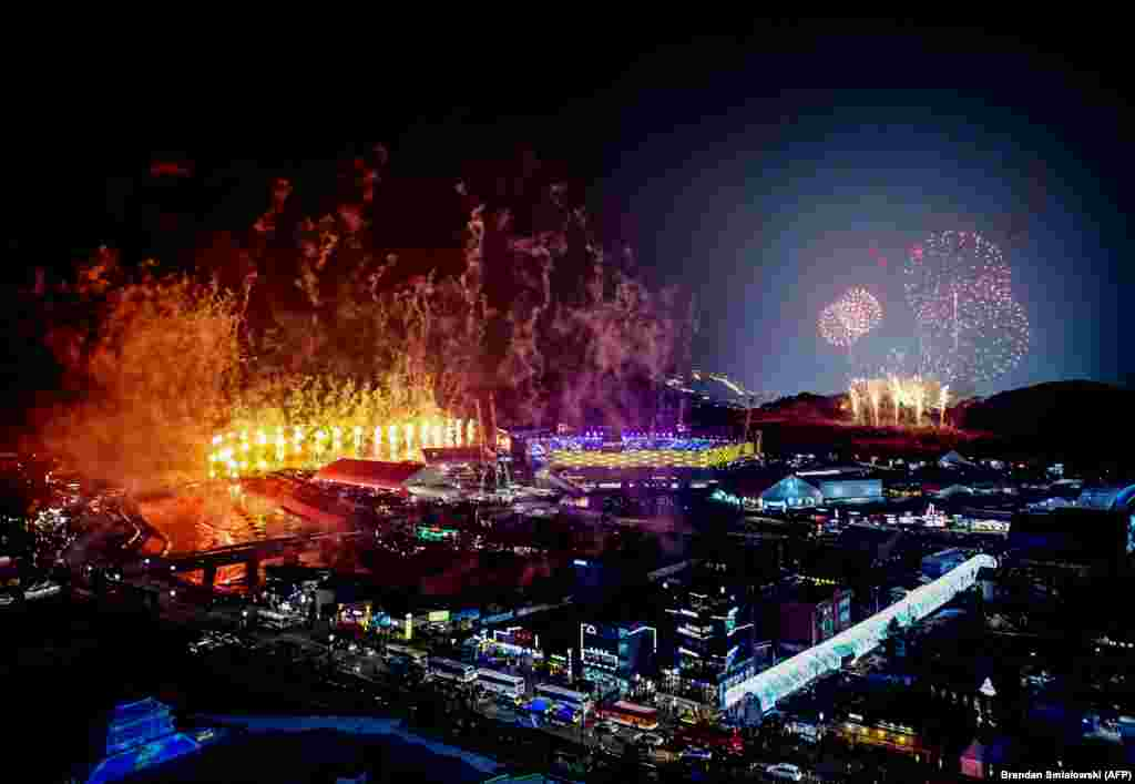 Fireworks light up the sky above Pyeongchang Stadium on February 9 during the opening ceremony of the 2018 Winter Olympic Games.