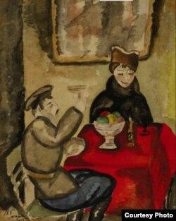 Сандро Фазини. В кафе, 1915