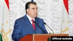 Tajik President Emomali Rahmon speaks on April 17.