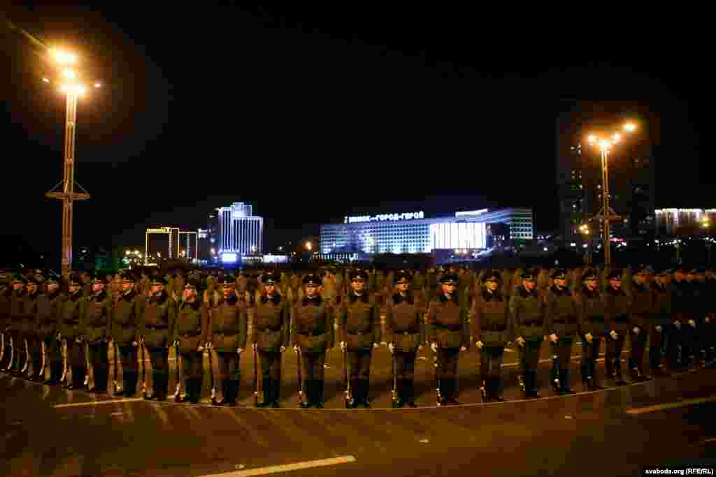 Belarusian honor guards stand to attention.