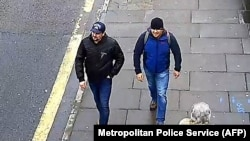 """There was muddy slush everywhere"": A photo released by British police shows shows two men they identified as Aleksandr Petrov (right) and Ruslan Boshirov walking on Fisherton Road in Salisbury on March 4."