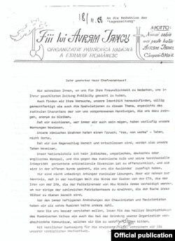 """Scrisoare către redacția ziarului """"Die Tageszeitung"""""""