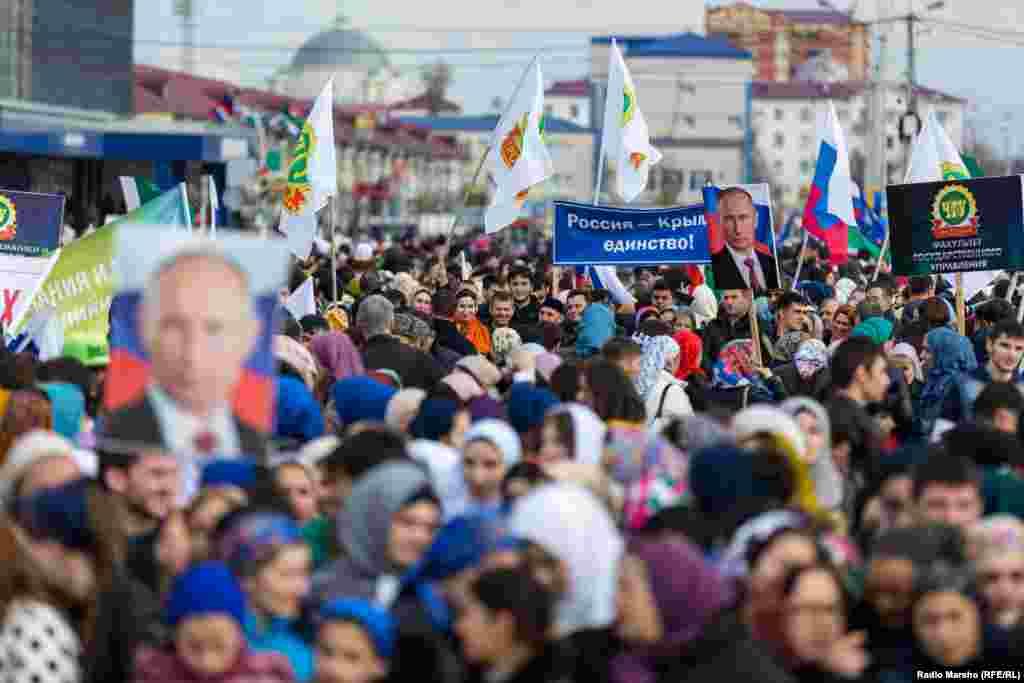Заходи з нагоди річниці анексії Криму Росією відбулися і в Грозному, столиці Чеченської Республіки