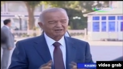 Өзбекстан президенті Ислам Каримовтың биылғы маусымның соңында Қашқадарияға барған кезіндегі бейнесі. Скриншот.