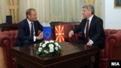Predsednik Evropskog saveta Donald Tusk i makedonski predsednik Đorđe Ivanov.