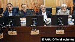 Iranian minister of education Danesh Ashtiani (2nd L) presenting in Education commission of Parliament to explain about Iran's act on Unesco 2030 document