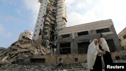 Qəzza, İsrailin hava hücumları nəticəsində dağılmış tikililər