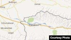 Узбекско-таджикская граница на карте.