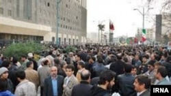 Iran - Government retirees protest in fron of parliament, demanding guarantee in budget for their pensions. January 2, 2019