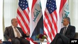 Хайдар аль-Абаді (л) і Барак Обама (п) під час зустрічі на берегах саміту «Групи семи» в Німеччині, 8 червня 2015 року