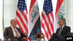 ABŞ-nyň prezidenti Barak Obama (s) we Yragyň premýer-ministri Haidar al-Abadi (ç), Germaniýa, 8-nji iýun, 2015