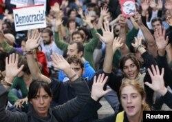Одна из акций протеста в Мадриде осенью 2012 года