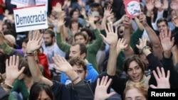 Proteste împotriva politicii de austeritate pe străzile Madridului