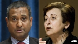 Nobel Peace Prize winner Shirin Ebadi (right) has appealed to Ahmed Shaheed, the UN's special rapporteur on the human rights situation in Iran.