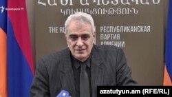 Давид Шахназарян во время пресс-конференции, Ереван, 5 декабря 2018 г․