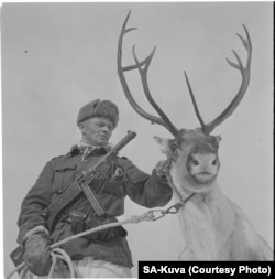 "The picture of Finnish soldier Klemet Jouni Jeremias Halonen, a ""soldier with a reindeer"" that ""some young bureaucrat"" may have found on the Internet."