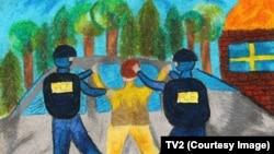Dječiji crtež nazvan Hapšenje, prikazuje dva FSB agenta u akciji pritvaranja.