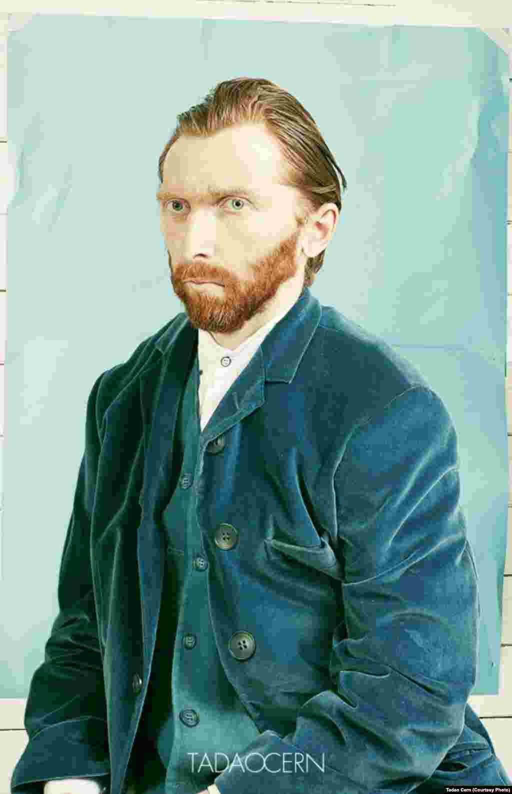 Photographer Tadao Cern used a friend as a model for this photographic re-creation of Van Gogh's masterpiece. He asked a stylist to find period clothing and used a bit of digital retouching to complete the effect.