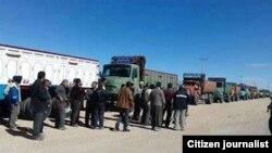 نمایی از اعتصاب کامیونداران در خرداد سال جاری