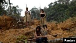 Domorodačko pleme Mura u Amazonu na terenu gdje je posječena šuma, avgust, 2019.