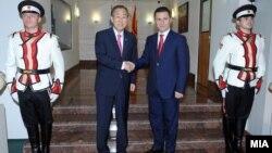 Генералниот секретар на ОН Бан Ки-мун се сретна со премиерот Никола Груевски во Скопје.
