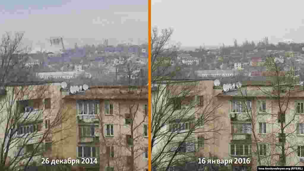 Фото зроблено з одного ракурсу 26 грудня 2014 (день вибуху) і 16 січня 2016 року. 16-поверховий будинок був знесений вибухом із другого разу.