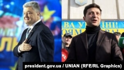 Petro Poroshenko (left) and Volodymyr Zelenskiy