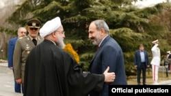 Iran - Iranian President Hassan Rouhani greets Armenian Prime Minister Nikol Pashinian in Tehran, February 27, 2019.