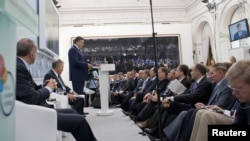 """Ukrainian President Viktor Yanukovych delivers a speech during the ninth Yalta Annual Meeting """"Ukraine and the World: Addressing Tomorrow's Challenges Together"""" in the Black Sea resort of Yalta on September 14."""