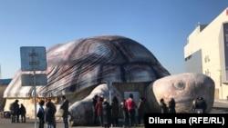 На фото активисты собрались у выездного зоопарка, высказывая свое недовольство условиями содержания животных. Шымкент, 23 января 2020 года.