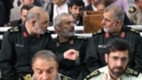 Top IRGC commanders (L2R) Hossein Salami, Ali Fadavi and Mohammad Pakpour on Fitr Prayer in Tehran on June 26, 2017.